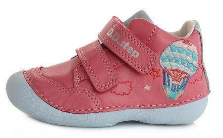 D-D-step Egész évben viselhető lány bőrcipő 015-350, 23, rózsaszín