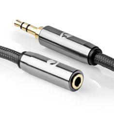 Nedis Fabritallic prodlužovací audio kabel zástrčka jack 3.5mm - zásuvka jack 3.5mm, 5 m (CATB22050GY50)