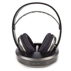 Nedis HPRF210BK FM bezdrátová sluchátka s nabíjecí základnou