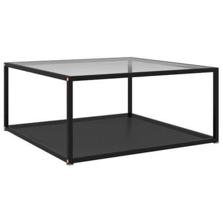 shumee fekete és átlátszó edzett üveg teázóasztal 80 x 80 x 35 cm