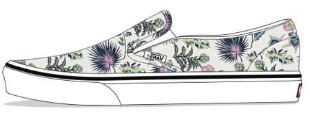Vans lány slip-on cipő UY Classic Slip-On Paradise Flora VN0A4BUT30R1, 33, krémszínű