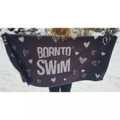 Born To Swim Valentýnský ručník z lásky a mikrovlákna - šedý