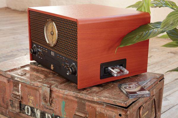 bluetooth minisystém gpo retro chesterton retro design dab výkonné reproduktory čistý zvuk 30. léta