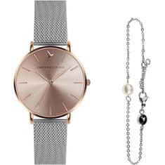 Emily Westwood Sunray Silver Mesh & Mini Pearl Bracelet EWS010