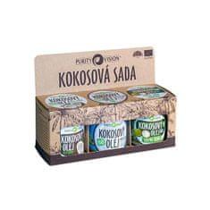 Purity Vision Zestaw orzechów kokosowych (Raw kokosový olej, Panenský kokosový olej, Kokosový olej bez vůně)
