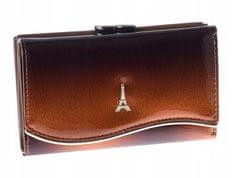 PARIS DESIGN Designová dámská kožená lakovaná peněženka Nice, hnědá
