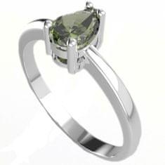 A-B A-B Strieborný prsteň s vltavínom vo forme kvapky Zeleného lesa jw-AGV3019, 925/1000 Sterling silver.