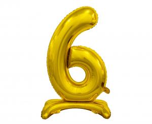 GoDan Léggömb fólia száma álló 6 - arany - 74 cm