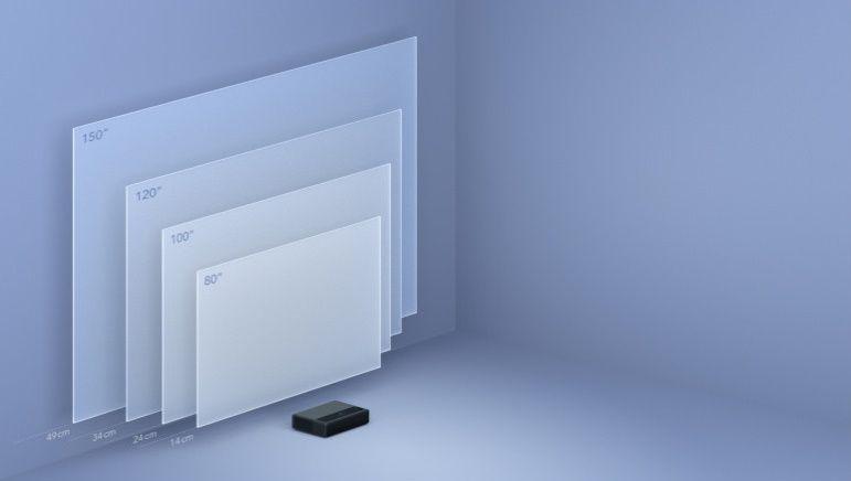 Domáce kino Xiaomi Mi 4K Laser Projector 150´´ (28179), rozlíšenie 4K UHD, realistický obraz, verné farby, kvalitný zvuk, basy