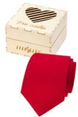 """Avantgard Dárkový set - Kravata LUX v dárkové dřevěné krabičce """"Pro svědka"""" 919-985721 Červená, přírodní dřevo šířka 7 cm"""
