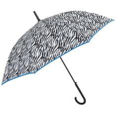 Perletti Dámsky automatický dáždnik ZEBRATO / modrý lem, 26164