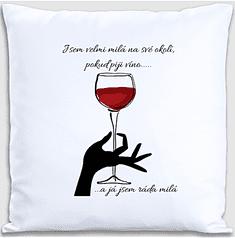 Super plecháček Dekorační polštářek víno 40 x 40 cm Oboustranný tisk: NE, Varianta: s výplní