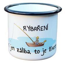 Super plecháček Smaltovaný hrnek plecháček pro rybáře R101 330 ml