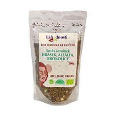 Lahodnosti BIO zmes semienok - hrášok, alfalfa, brokolica - semienka na klíčenie 200 g