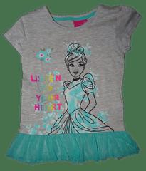 Disney Dívčí šedé tričko s krátkým rukávem Listen to your heart.