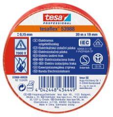 Tesa PVC elektroizolačná páska (IEC 60454-3-1), červená, 20m x 19mm, 10pack