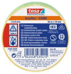 Tesa PVC elektroizolačná páska (IEC 60454-3-1), žlto-zelená, 10m x 15mm, 10pack