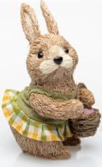 Seizis Zajačica prírodná s košom a zelené šaty, 26 cm