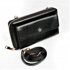 MILANO DESIGN Praktická dámská peněženka na popruhu, světle černá