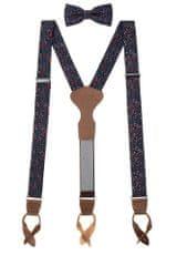 Avantgard Set Látkové šle Y s koženým středem a poutky - 35 mm, motýlek a kapesníček 885-197263 Modrá, tmavě hnědá kůže Šle uni 35 mm, motýlek 12,5 cm