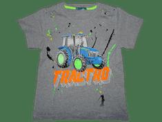 KUGO Chlapecké šedé tričko s traktorem s nápisem, který svítí ve tmě.