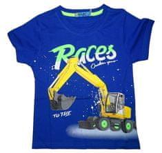 KUGO Chlapecké modré tričko s bagrem nápisem, který svítí ve tmě.
