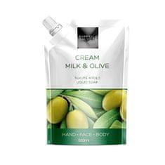 Gabriella Salvete Tekuté mýdlo Cream Olive - náhradní náplň (Refill Liquid Hand Face Body Soap) 500 ml