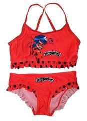 """Eplusm Dziewczęcy kostium kąpielowy dwuczęściowy """"Miraculum"""" - czerwony"""