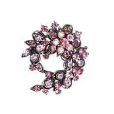 DARKA Brož Snítka s květinou a krystaly BRBI0016 Bižuterie