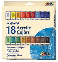 "KREUL Sada Akrylová farba ""EL GRECO"", 18 farieb, 12 ml v tube"