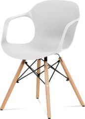 ART Jídelní židle bílý strukturovaný plast / natural ALBINA WT Art