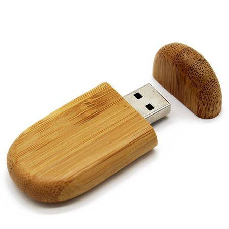 CTRL+C Owalny drewniany pendrive BAMBUS CARBON, 8 GB, USB 2.0