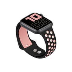 4wrist Silikonový řemínek pro Apple Watch - Černá/Světle růžová 38/40 mm