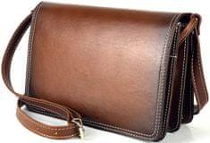 VegaLM Kožená crossbody kabelka ručne tieňovaná v hnedej farbe, uzatváranie na magnet