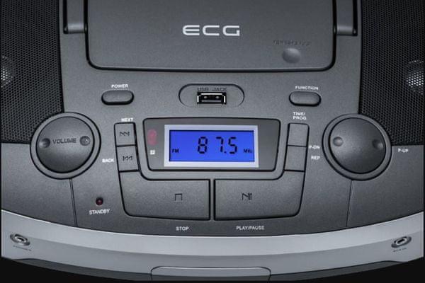 wysokiej jakości radioodtwarzacz ekg cdr 1000 u tytanowy wyświetlacz lcd odtwarzanie usb obsługa odtwarzacza mp3 napęd cd wejście aux in pilot zdalnego sterowania w pakiecie moc muzyczna 2 × 3 W tuner fm 30 zaprogramowanych ustawień nowoczesny design