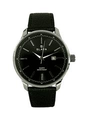 Slava Time Pánské elegantní hodinky s velkým pouzdrem SLAVA a černým ciferníkem Barva: černá, Velikost: UNI