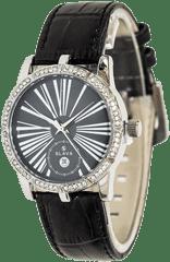 Slava Time Dámské hodinky s vykrojeným ciferníkem a kamínky SLAVA Barva: černá, Velikost: UNI