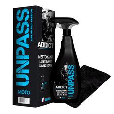 UNPASS ADDICT čistící a leštící přípravek v rozprašovači 500 ml + utěrka z mikrovlákna - čistí bez použití vody