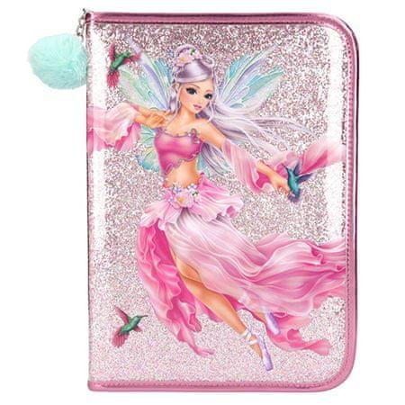 Top Model Nagyméretű ceruzatartó felszereléssel, Rózsaszín szabadalom, tündérekkel és kolibrikkal, flitterekkel, mentolos bobble és kolibri medállal