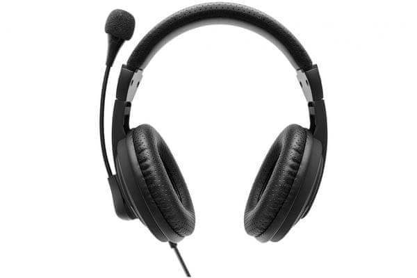 moderní sluchátka do kanceláře pro práci i pro zábavu niceboy voice intercom maxxbass technologie plug play zapojení ohebný mikrofon uzavřené náušníky s izolační pěnou výborné pasivní odhlučnění ovládací prvky na kabelu kabel 1,8 m s usb konektorem kvalitní 40mm měniče směrová charakteristika mikrofonu