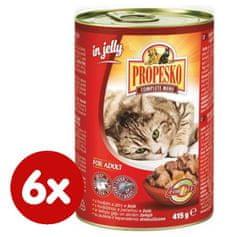 Propesko kúsky mačka hovädzia + pečeň v želé 6 x 830 g