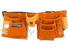 Extol Premium Vrecko na náradie, dvojdielne, 9 vreciek, kovové oko, s opaskom, kožené