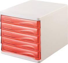 Helit Zásuvkový box, 5x zásuvka, šedý/červený, plastový
