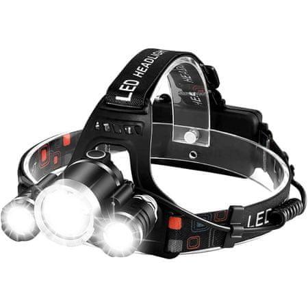 MG TD257 Headlamp akkumulátoros fejlámpa 3x LED, fekete