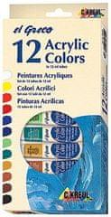 "KREUL Sada Akrylová farba ""EL GRECO"", 12 farieb, 12 ml v tube"