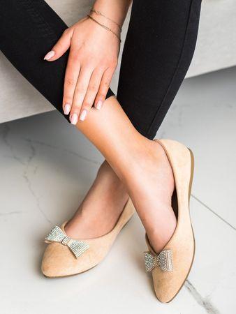 Vinceza Női balerina cipő 69512 + Nőin zokni Gatta Calzino Strech, bézs és barna árnyalat, 37