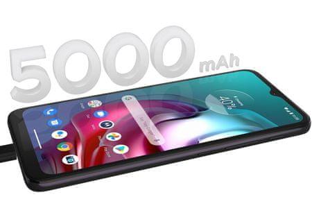 moderní mobilní dotykový telefon smartphone motorola g30 turbopower 20w nabíjení 5000mah baterie 48h výdrž lte wifi Bluetooth 2 sim paměťová karta nfc 6,5palcový hd plus displej 64mpx fotoaparát ip52 google assistant