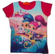 Nickelodeon Dívčí červené tričko s krátkým rukávem Shimmer Shine