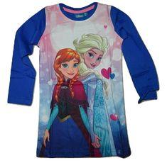 Disney Dívčí modré tričko s dlouhým rukávem Frozen s Elsou a Annou.