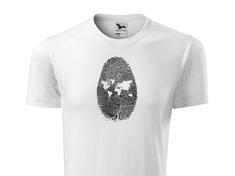 Super plecháček Pánské tričko s potiskem mapa Velikost trička: XS, Barva trička Element: Bílá - 00